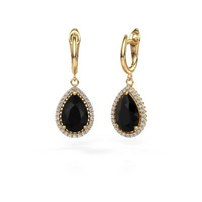 Drop earrings Hana 1 585 gold black diamond 7.62 crt