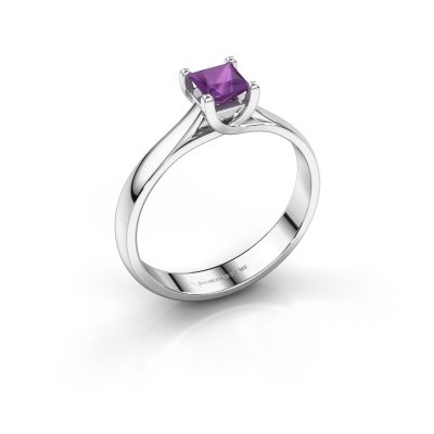 Engagement ring Mia Square 925 silver amethyst 4 mm