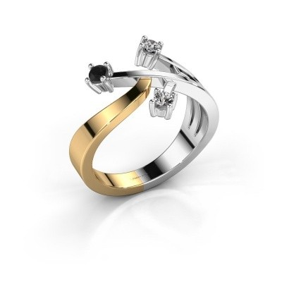 Ring Lillian 585 goud zwarte diamant 0.192 crt