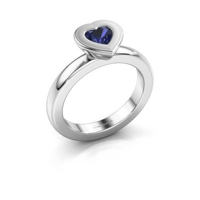 Stapelring Eloise Heart 925 zilver saffier 5 mm