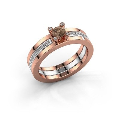Foto van Ring Alisha 585 rosé goud bruine diamant 0.36 crt