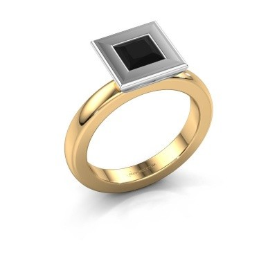 Stapelring Eloise Square 585 goud zwarte diamant 0.936 crt