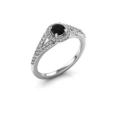 Verlovingsring Pamela RND 950 platina zwarte diamant 0.532 crt