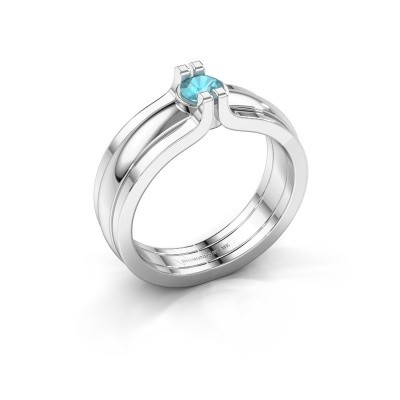 Picture of Ring Jade 925 silver blue topaz 4 mm
