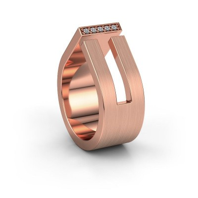 Huwelijksring WH2090L19C 375 rosé goud diamant ±10x2.2 mm