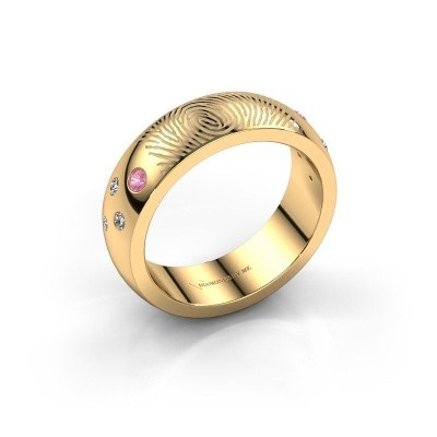 Foto van Ring Minke 585 goud roze saffier 2 mm
