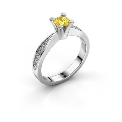 Promise ring Ichelle 2 585 witgoud gele saffier 4.7 mm