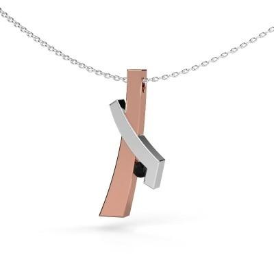 Hanger Alyssa 585 rosé goud zwarte diamant 0.096 crt