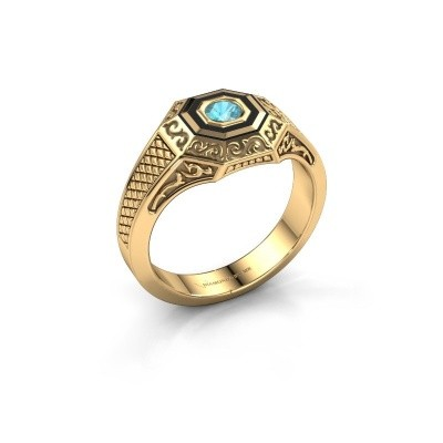 Foto van Heren ring Dion 585 goud blauw topaas 4 mm