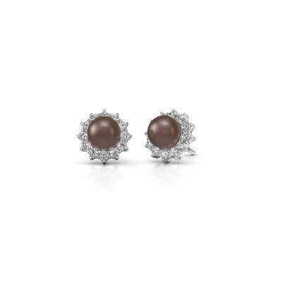Foto van Oorbellen Tess 585 witgoud bruine parel 7 mm