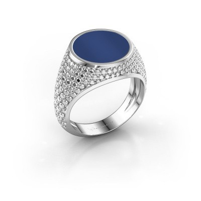 Foto van Zegelring Zachary 2 375 witgoud lapis lazuli 12 mm