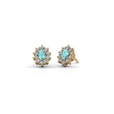 Picture of Earrings Leesa 375 gold blue topaz 6x4 mm