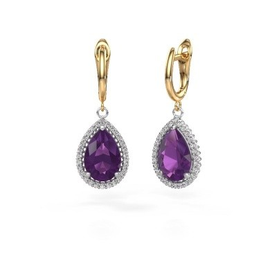 Drop earrings Tilly per 3 585 white gold amethyst 12x8 mm