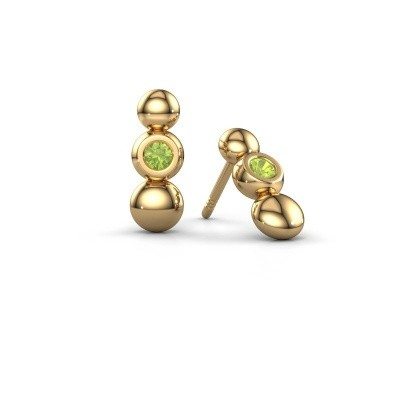 Photo de Boucles d'oreilles Lily 585 or jaune péridot 2.5 mm