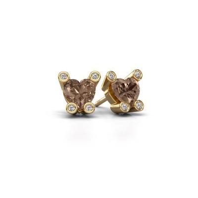 Oorstekers Cornelia Heart 585 goud bruine diamant 1.64 crt
