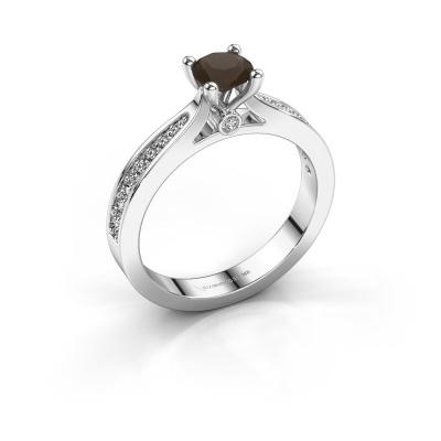 Engagement ring Evelien 950 platinum smokey quartz 5 mm