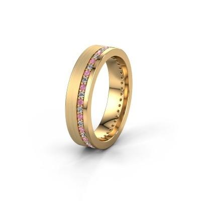 Trouwring WH0303L15BPM 585 goud roze saffier 1.3 mm ±5x2 mm