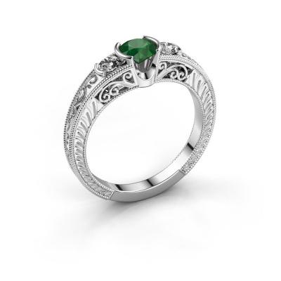 Foto van Promise ring Tasia 585 witgoud smaragd 5 mm
