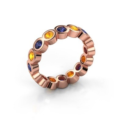 Stackable ring Edwina 3 375 rose gold sapphire 3 mm