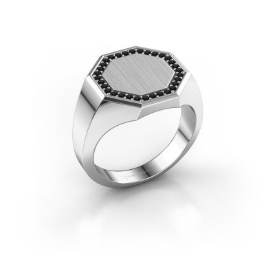 Heren ring Floris Octa 3 925 zilver zwarte diamant 0.288 crt