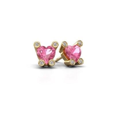 Oorstekers Cornelia Heart 585 goud roze saffier 6 mm