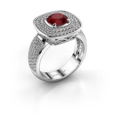 Ring Eliana 925 zilver robijn 6 mm