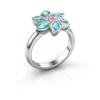Ring Amina 585 witgoud roze saffier 2 mm
