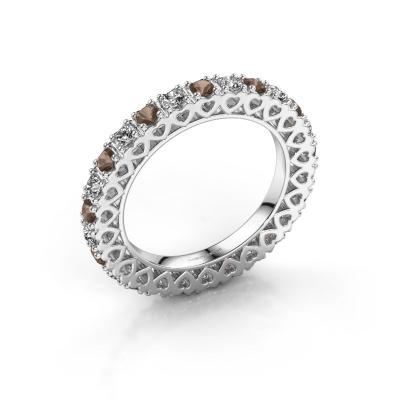 Stackable ring Hailey 585 white gold smokey quartz 2.2 mm