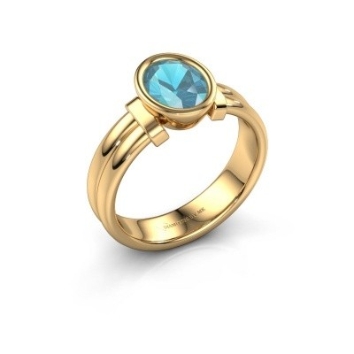 Bague Gerda 585 or jaune topaze bleue 8x6 mm