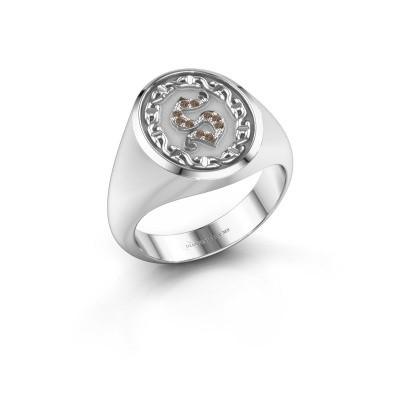 Men's ring Ruan 925 silver brown diamond 0.05 crt