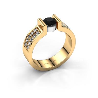 Verlovingsring Isabel 3 585 goud zwarte diamant 0.900 crt
