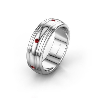 Wedding ring WH2236L 950 platinum ruby ±0.24x0.09in