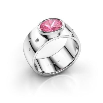 Ring Wilma 2 925 zilver roze saffier 8x6 mm