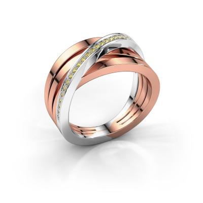 Foto van Ring Esmee 585 rosé goud gele saffier 1 mm