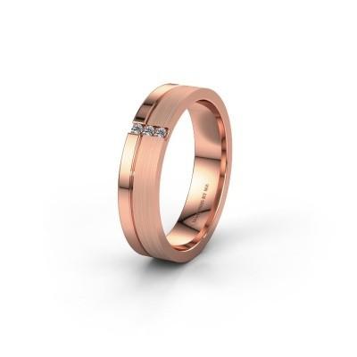 Trouwring WH0157L14XPM 375 rosé goud lab-grown diamant ±4x1.4 mm
