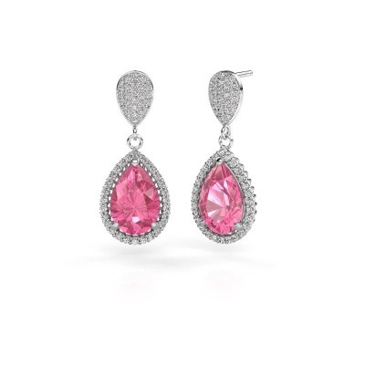 Picture of Drop earrings Tilly per 2 585 white gold pink sapphire 12x8 mm
