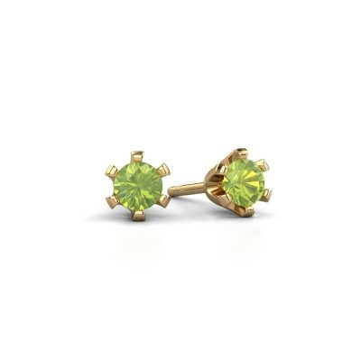 Picture of Stud earrings Shana 375 gold peridot 4 mm