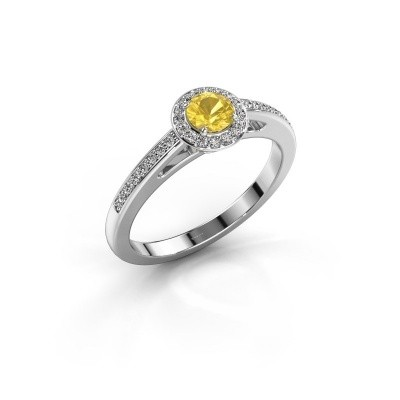 Engagement ring Aaf 585 white gold yellow sapphire 4.2 mm