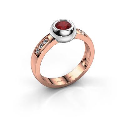 Ring Charlotte Round 585 rosé goud robijn 4.7 mm