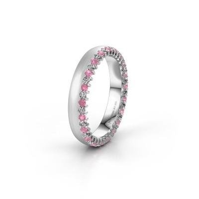 Trouwring WH2138L24B 925 zilver roze saffier ±4x2 mm