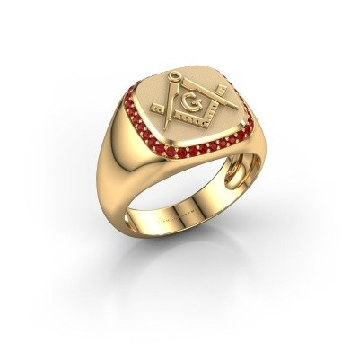 Foto van Heren ring Johan 585 goud robijn 1.2 mm