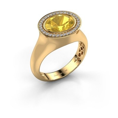 Ring Phebe 585 goud gele saffier 10x8 mm