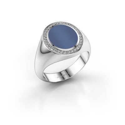 Picture of Signet ring Hilda 2 585 white gold blue sardonyx 12x10 mm
