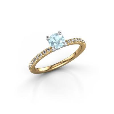 Foto van Verlovingsring Crystal rnd 2 585 goud aquamarijn 5 mm