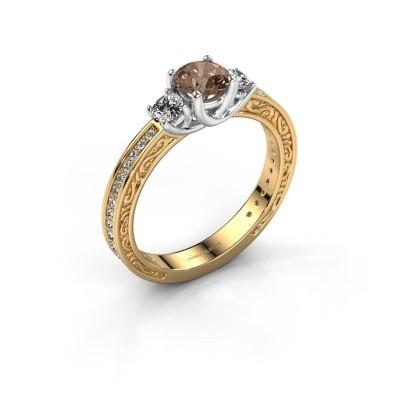 Verlovingsring Betty 2 585 goud bruine diamant 0.957 crt