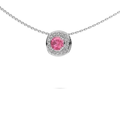 Ketting Carolina 375 witgoud roze saffier 5 mm