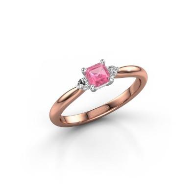 Foto van Verlovingsring Lieselot ASS 585 rosé goud roze saffier 4.5 mm