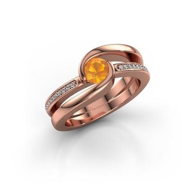 Foto van Ring Xenia 2 375 rosé goud citrien 5 mm