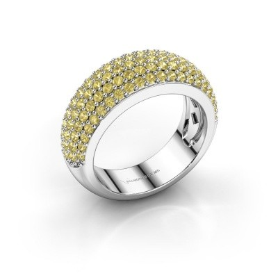Foto van Ring Cristy 585 witgoud gele saffier 1.2 mm