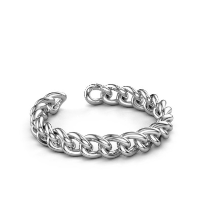 Cuban link armband ±12 mm 375 witgoud